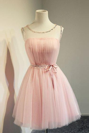 Pink Tulle Homecoming Dress,Cute Evening Dresses , Flower Waist Prom Dresses,Sheer straps Homecoming Dresses