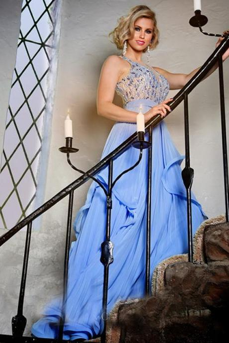 Blue Sexy O Neck Back See Through Prom Dress,Beading Crystal Long Women Formal Evning Dress ,Mother of the Bride Dress