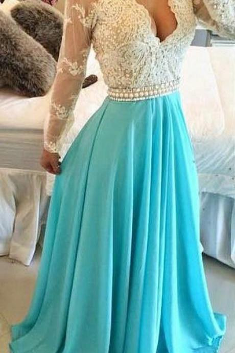 Long Sleeves Turquoise Chiffon Prom Dresses Sheer Open Back Lace Beaded Evening Gowns