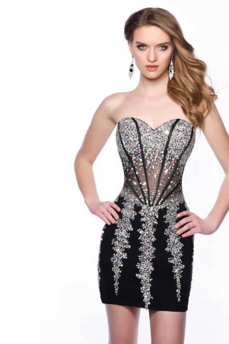 Sexy Sweetheart Shining Crystals Sheath Mini Homecoming Dress,Cocktail Dress, Party Dress