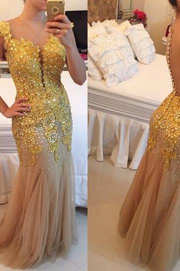 CharmingTulle Applique Prom Dress,Sexy See Through Sleeveless Evening Dress,Shiny Beading Dress, Evening Dress