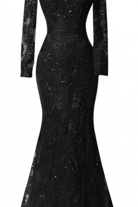 Sexy Black Prom Dresses,Custom Long Sleeves Prom Dress,Charming Beading Evening dress,Lace Mermaid Prom Dress