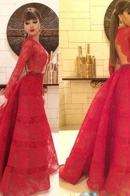 Charming Red Lace Prom Dress,Sexy Long Sleeves Evening Dress,Sexy Backless Prom Dress ,Charming Beading Evening dress