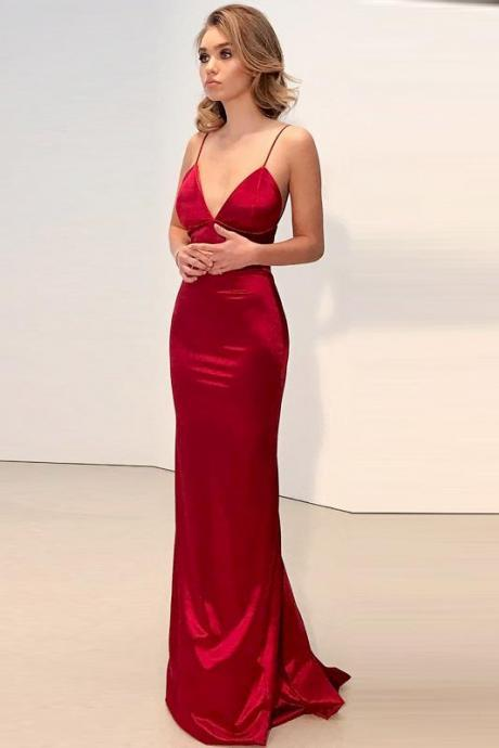Red Prom Prom Dress, Mermaid Prom Dress, Sexy Prom Party Gowns, Sexy Sheath Deep V-Neck Long Satin Evening Dresses with Spaghetti Straps