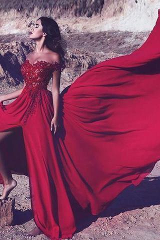 Red Appliques Prom Dress,Long Formal Evening Dress, Sexy Off Shoulder Slit Prom Dresses