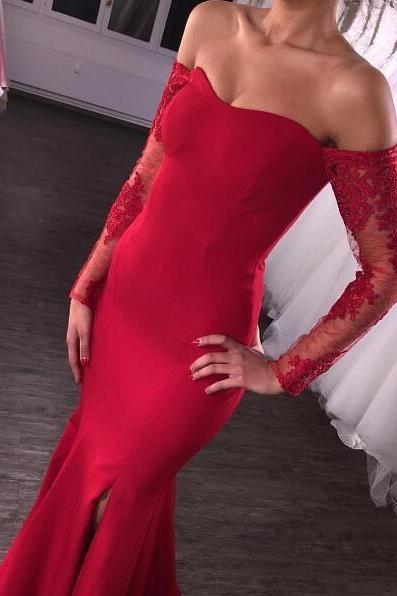 Red Evening Dress, Off Shoulder Evening Dress, Mermaid Evening Dress, Lace Evening Dresses