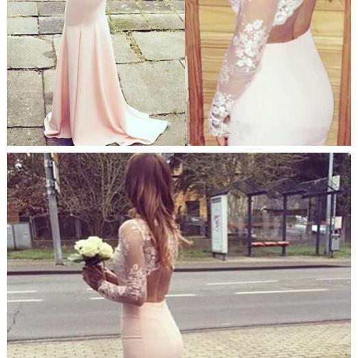 High Neck Lace Pink Prom Dress,Long Prom Dresses, Evening Dress,Pink Formal Dress,Lace Prom Gowns
