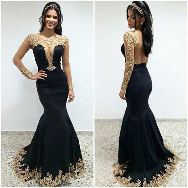 Black Prom Dresses,Lace Prom Dress,Sexy Prom Dress,Lng Sleeves Prom Dresses,Charming Formal Gown,Evening Gowns,Black Party Dress,Prom Gown For Teens