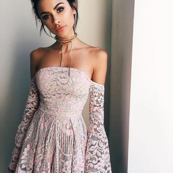 Homecoming Dress,off the shoulder long sleeves pink prom dress,short prom dresses,blush pink homecoming dresses,modest homecoming dress,short prom gowns