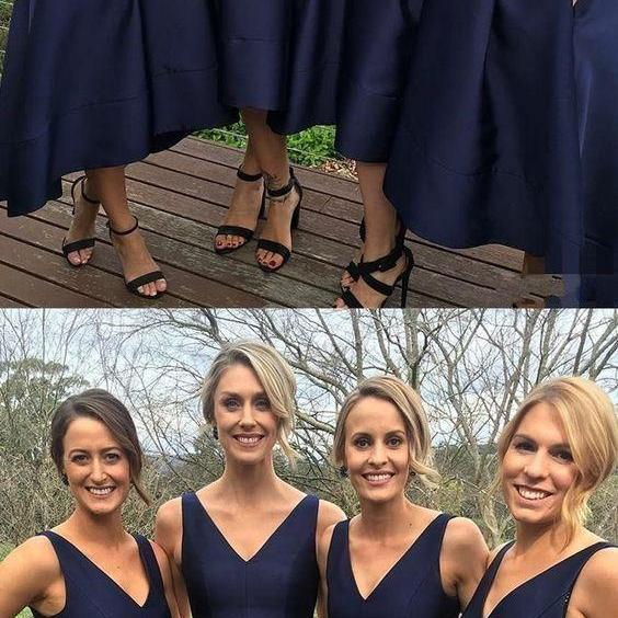 short a-line navy bridesmaid dresses, chic short bridesmaid dress,v-neck party dresses, cheap elegant wedding party dresses