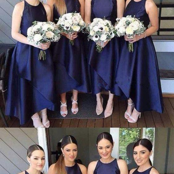 Navy Blue Asymmetrical Bridesmaid Dresses, Bridesmaid Dresses For Fall wedding,Bridesmaid Dresses For Fall