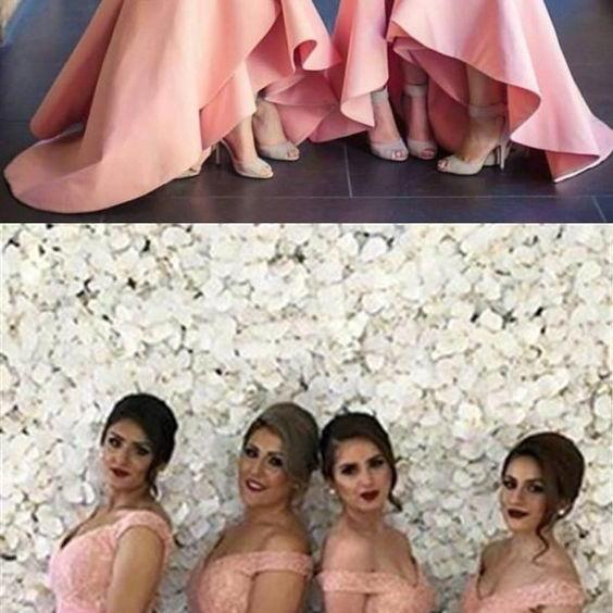 Pink bridesmaid dresses for fall wedding, Long bridesmaid dresses with lace, Elegant long prom party dresses