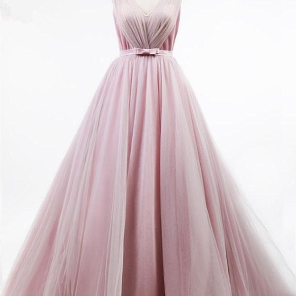 Pink V Neck Prom Dress, Sexy Tulle Prom Dresses, Long Evening Dress, Formal Gowns,Long Prom Dresses, Formal Evening Gown