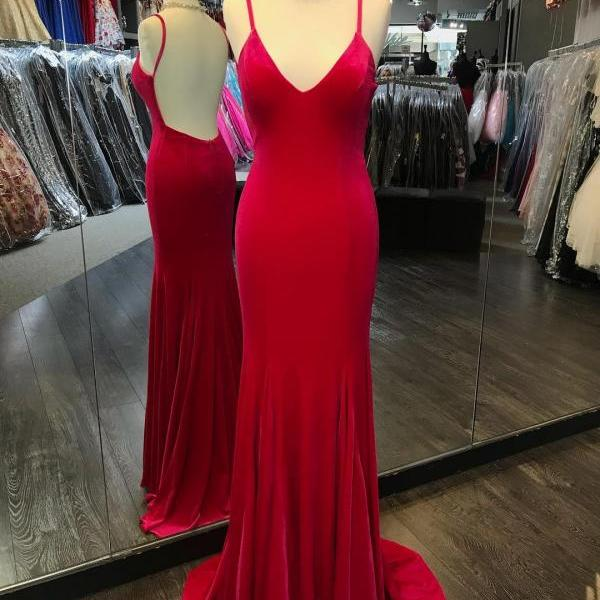 Red Mermaid Prom Dress, Sexy Backless Prom Dresses, Long Spaghetti Straps Evening Party Dress,Evening Dresses,Long Prom Dresses, Formal Evening Gown