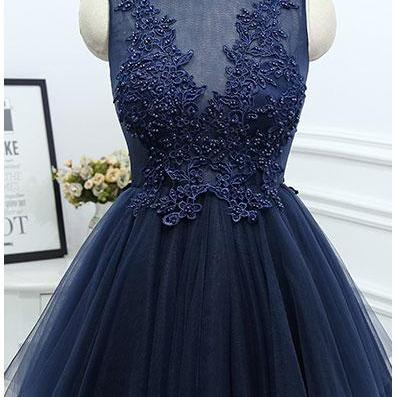 Short Homecoming Dress,Applique Homecoming Dress,Charming Prom Dress,Navy Blue Tulle Prom Dresses,Elegant Prom Dress,Beaded Prom Gown